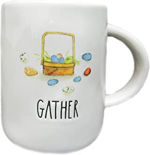 Rae Dunn GATHER Easter Basket with Eggs Ceramic Coffee Tea Mug