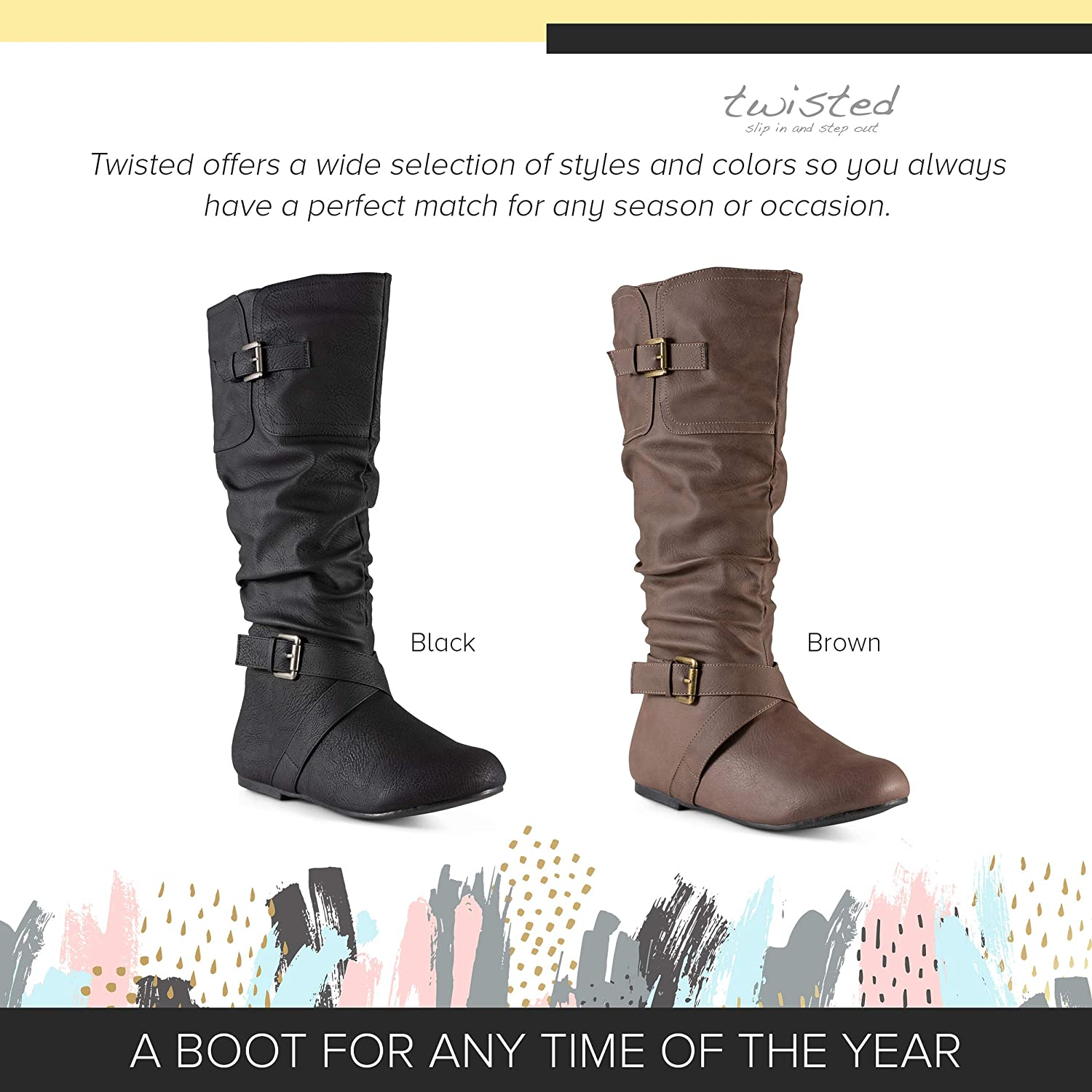 Twisted Women's Faux Leather Wide Width Slouchy Buckle Strap Mid Calf Boots
