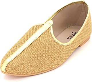 Rida London Mens Gents Groom Shimmery Traditional Ethnic Wedding Indian Pumps Khussa Jutti Mojari Slip On Flat Shoes Size