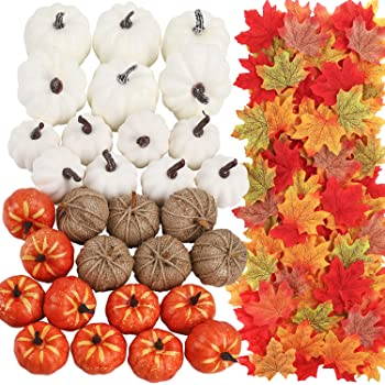 FUNARTY 30pcs Artificial Mixed Color Pumpkins Set with 300pcs Maple Leaves, Harvest Pumpkins for DIY Crafts Fall Wedding Thanksgiving Halloween Décor