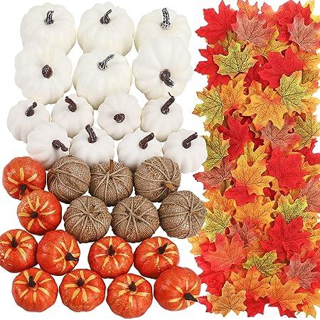 Party Decor 8Pcs Pumpkins With 30Pcs Maple Leaves 10Pcs Acorn 2Pcs Pine Cones Halloween For Autumn Wedding Ucradle 50 Pcs Halloween Artificial Pumpkins Home Decoration Set Christmas Orange