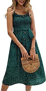 db46e13422 Angashion Women s Dresses - Summer Boho Floral Spaghetti Strap Button Down  Belt Swing A line Midi