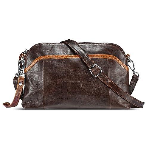 c95eb55f566b9 Lecxci Small Women s Soft Vintage Leather Crossbody Travel Smartphone Bag  Wristlets Clutch Wallet Purse
