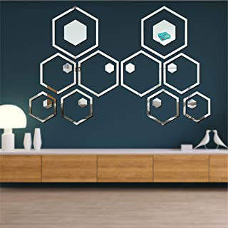 Best Decor 20 Shape Hexagon Silver Code 175 Acrylic Mirror 3D Wall Sticker Decoration for Kids Room/Living Room/Bedroom/Of...