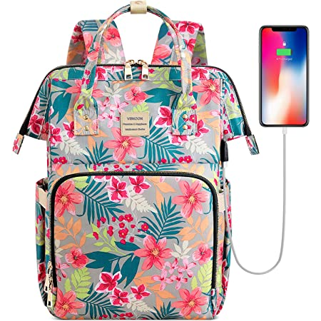 Naanle Purple Rose Laptop Backpack Book Bag Purple Rose Large 15.6 Inch Notebook Computer Bag Comfortable School College Daypack Durable Casual Travel Business Bag