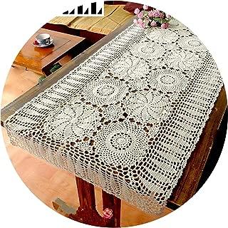 Tablecloths 100% Cotton Handcraft Crochet Tablecloths Shabby Vintage Crocheted Tablecloth Handmade Piano Cover Cotton Lace,Ecru,60X150Cm