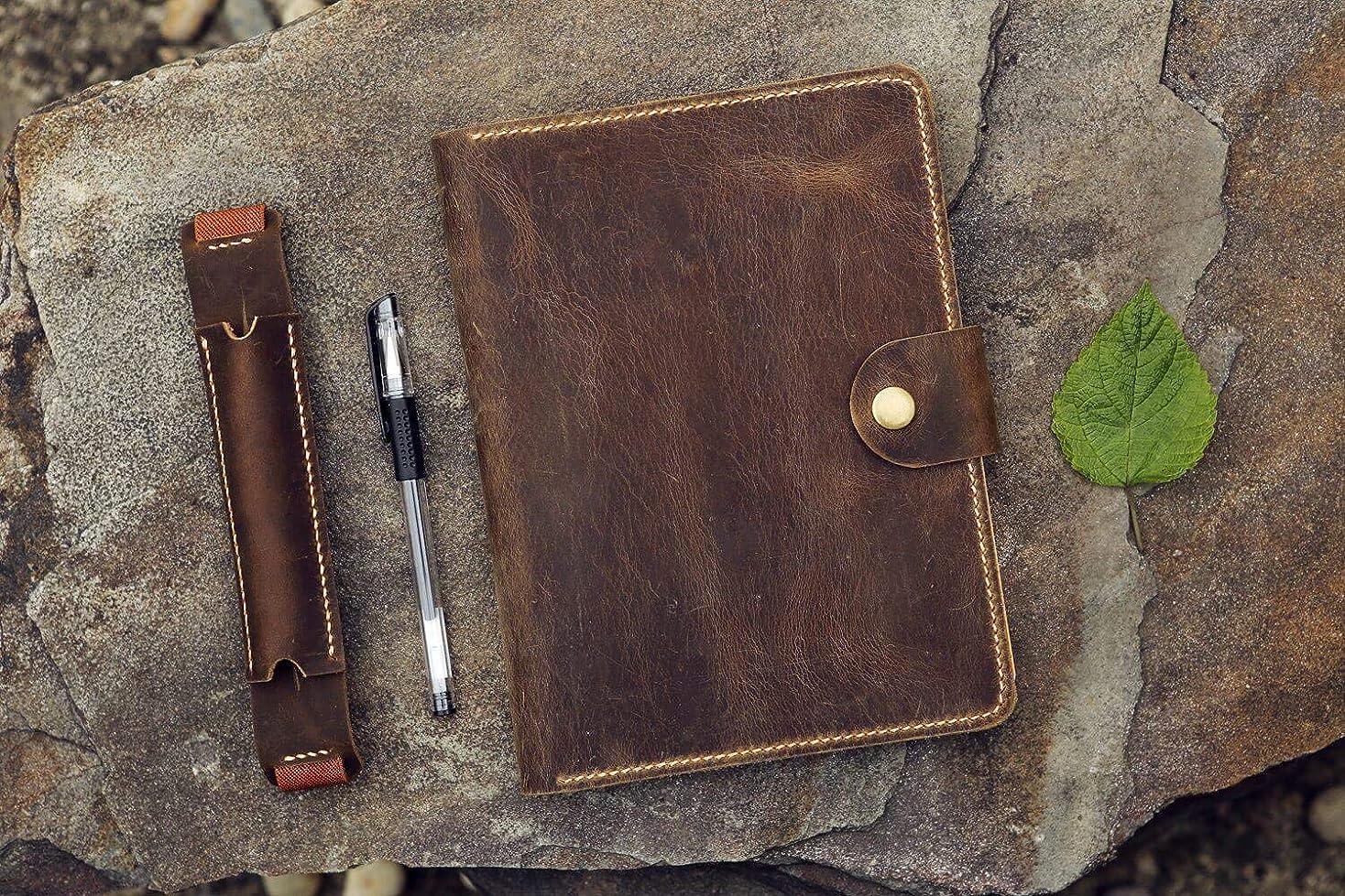 ビンテージ ロディアノート本革ケース オイルタンニンなめし牛革 レザーミーティングノートカバーポートフォリオ RHODIA Wirebound Meeting Notebook A5適用 レザーペンスリーブ付き NRA5P05S-WP