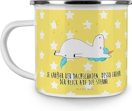Preisvergleich für Mr. & Mrs. Panda Campingbecher, Kaffeebecher, Emaille Tasse Einhorn Sternenhimmel mit Spruch - Farbe Gelb Pastell