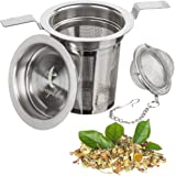 Loose Leaf Tea Infuser and 1 Extra Fine Mesh Strainer Stainless Steel Tea Ball Filter - Healthy Tea Steeper Interval Diffuser Brewers Black
