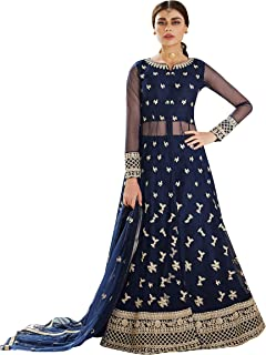 THE MAXO IMPEX Women's Embroidered Net Semi Stitched Salwar Suit (Free Size)