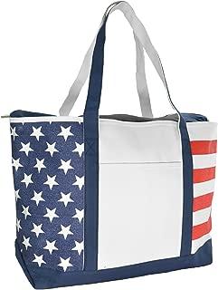 Striped Boat Bag Premium Cotton Canvas Tote Black, Red, Pink, Navy Blue, Purple (Stars-Stripes)