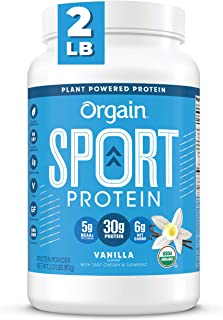 Orgain Vanilla Sport Plant-Based Protein Powder, Made with Organic Turmeric, Ginger, Beets, Chia Seeds, Cherry, Brown Rice...