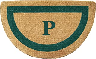 """Heavy Duty 22"""" x 36"""" Coco Mat, Green Single Picture Frame Monogrammed P, Half Round"""