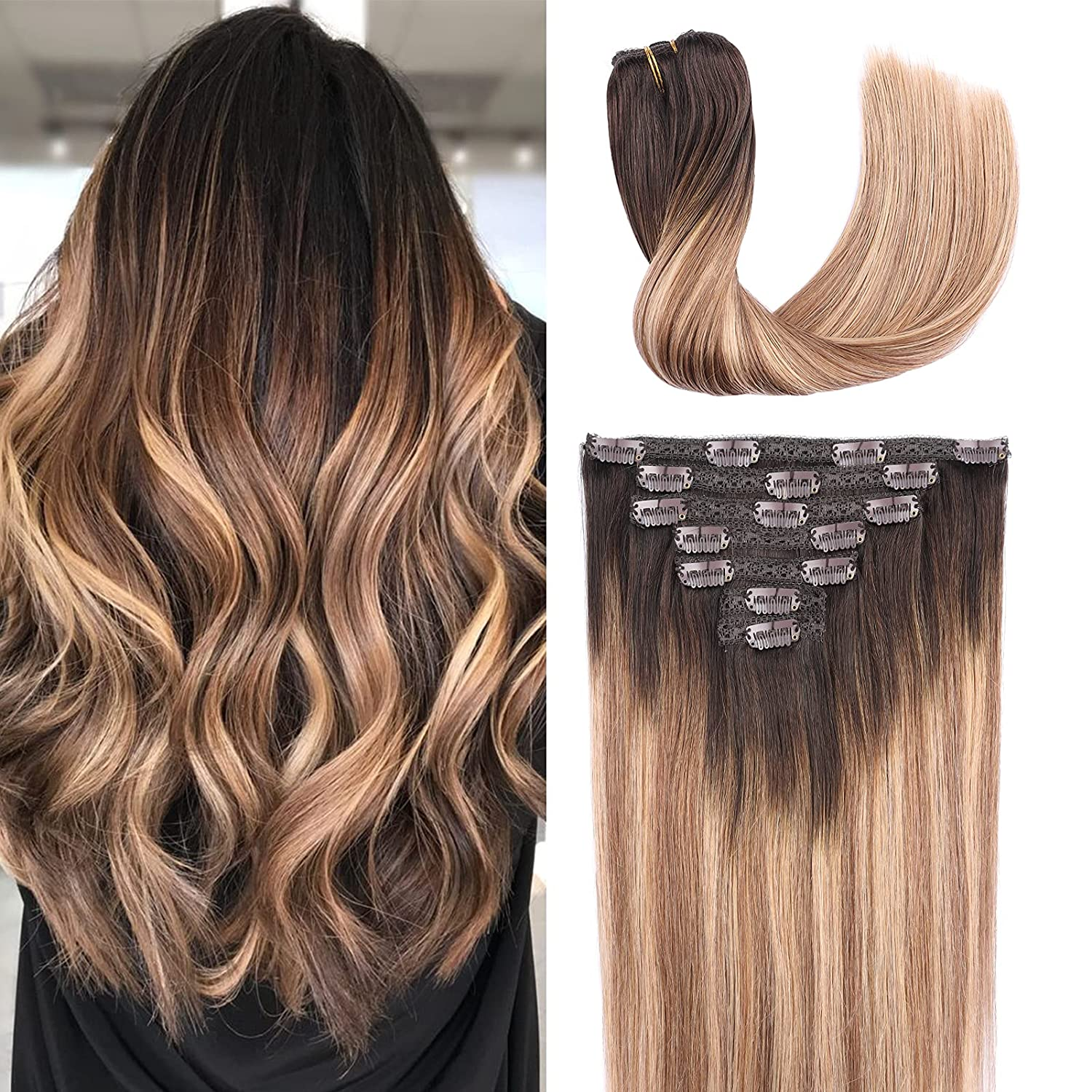ChicFusion Clip in In a popularity Human Hair Extensions 7pcs inch Dark online shop 120g 24