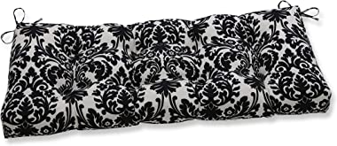 "Pillow Perfect Outdoor/Indoor Essence Onyx Tufted Bench/Swing Cushion, 44"" x 18"", Black"
