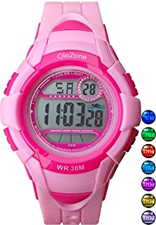 Kids Watches Girls Boys Digital 7-Color Flashing Light Water Resistant 100FT Alarm Gifts for Girls Boys Age 5-10 481