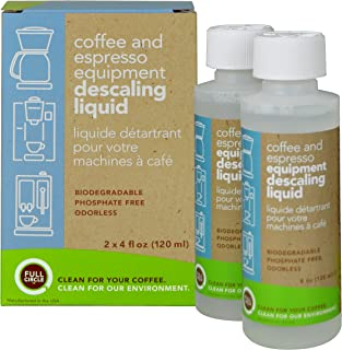 Full Circle Coffee and Espresso Descaling Liquid - 4 oz [ 2 Single Use Bottles ]