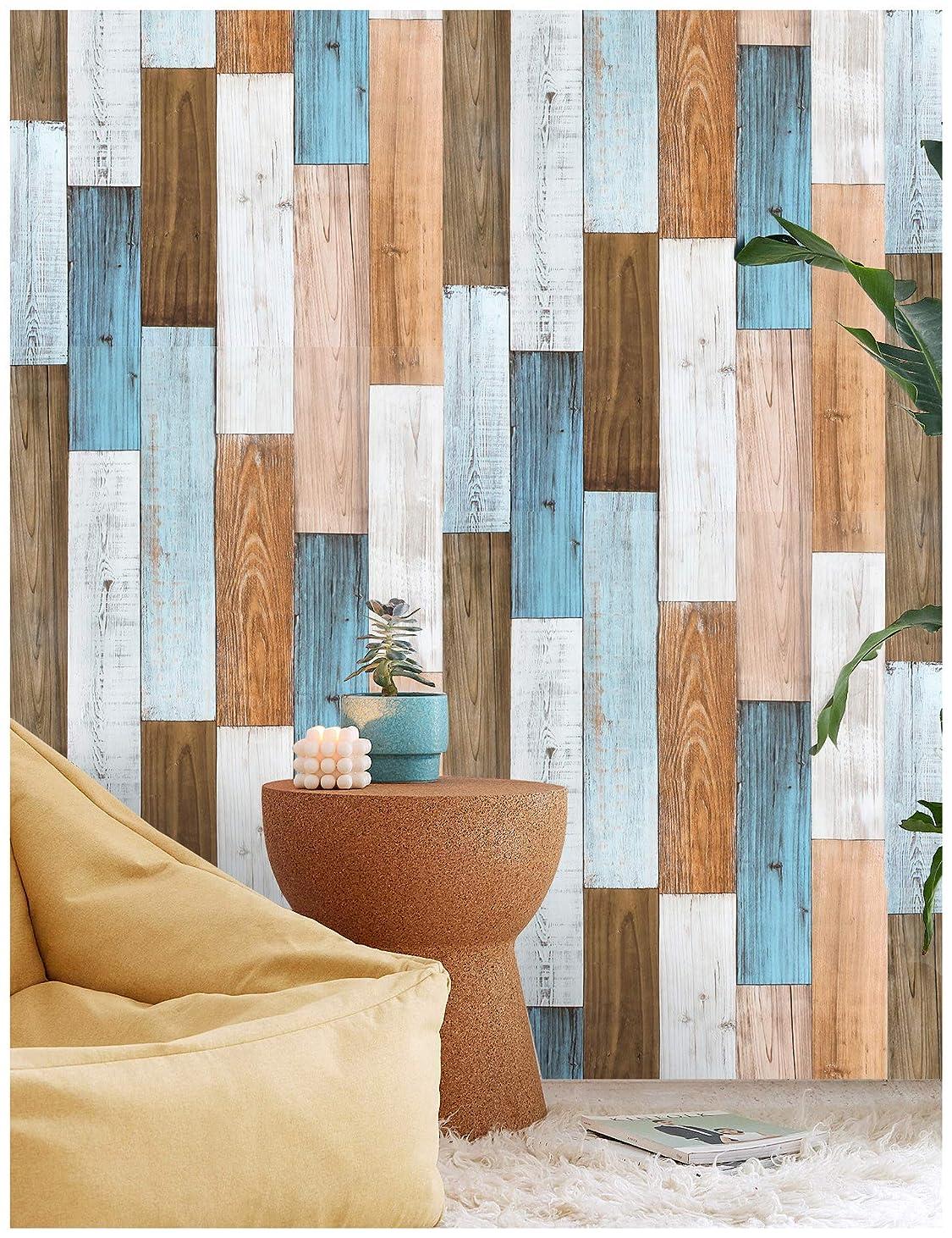 モザイク変わる達成可能HAOKHOME 92057 厚い 壁紙 木目 シール はがせる壁紙 剥 はがせる 多色 自己 接着 壁 紙 浴室 寝室 家 装飾 壁紙屋本舗 0.45cm x 3m