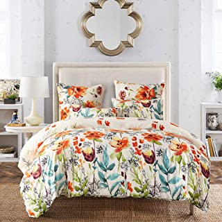 Fire Kirin Floral Duvet Cover Set with Soft Lightweight Microfiber 1 Duvet Cover and 2 Pillowcases, Colorful Flower Patter...