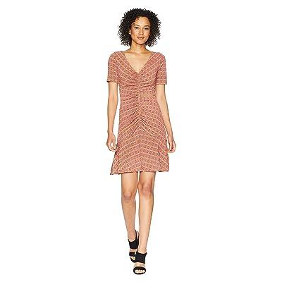 Donna Morgan Short Sleeve V-Neck Printed Jersey Dress with Ruching Detail (Blood Orange) Women