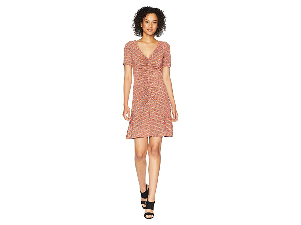 Donna Morgan Short Sleeve V-Neck Printed Jersey Dress with Ruching Detail (Blood Orange) Women