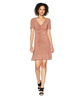 Short Sleeve V-Neck Printed Jersey Dress with Ruching Detail