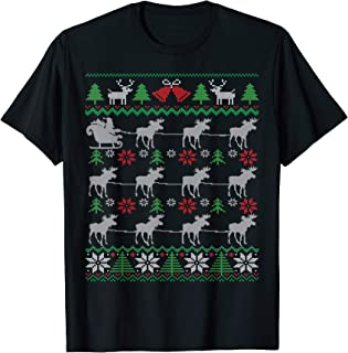 Moose Pulling Santa Sleigh Funny Canadian Ugly Christmas T-Shirt