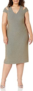 Dress the Population womens Bryce Stretch Knit Bodycon Midi Dress with Cut-Outs PLUS Dress