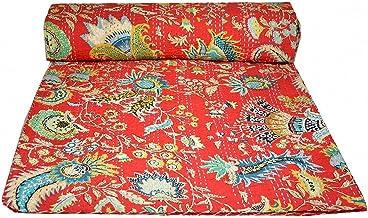 Kiara Indyjskie ręcznie wykonane bawełniane kołdry dwustronne wzór kantha paisley kwiatowy nadruk narzuty i narzuty ścieg ...