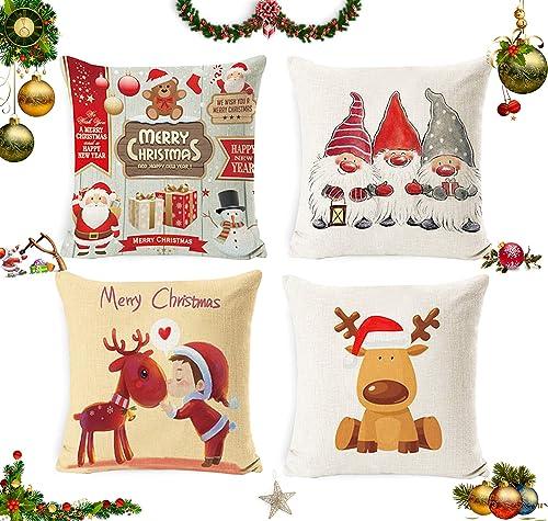 Sunshine smile 4 pcs Fundas navideñas para Cojines,Funda de Almohada de Navidad,Fundas para Cojines de Sofa,Funda de ...