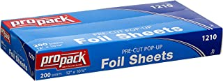 Propack Aluminum Siver Foil Precut Pop up Sheets (12 x 10.75, 200 Sheets) Silver Paper Wrap, Great For Cooking Baking Roas...