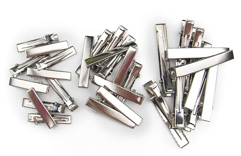 ALL in ONE DIY Hair Clip Kit: Assorted Size Flat Single Prong Metal Alligator Clip 33mm 40mm 58mm (30pcs) cpwdboty565