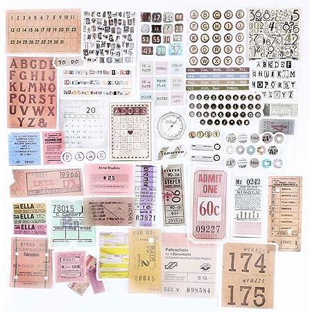 120PCS Autocollants Stickers Etiquettes Adhésif Style Vintage Scrapbooking Album Photo pour Journal plan bricolage artisanat Scrapbooking Journal (Style-A)