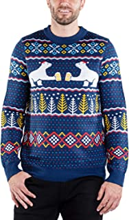 Men's Polar Bear Cheering Beer Sweater - Funny Polar Bear Ugly Christmas Sweater for Guys