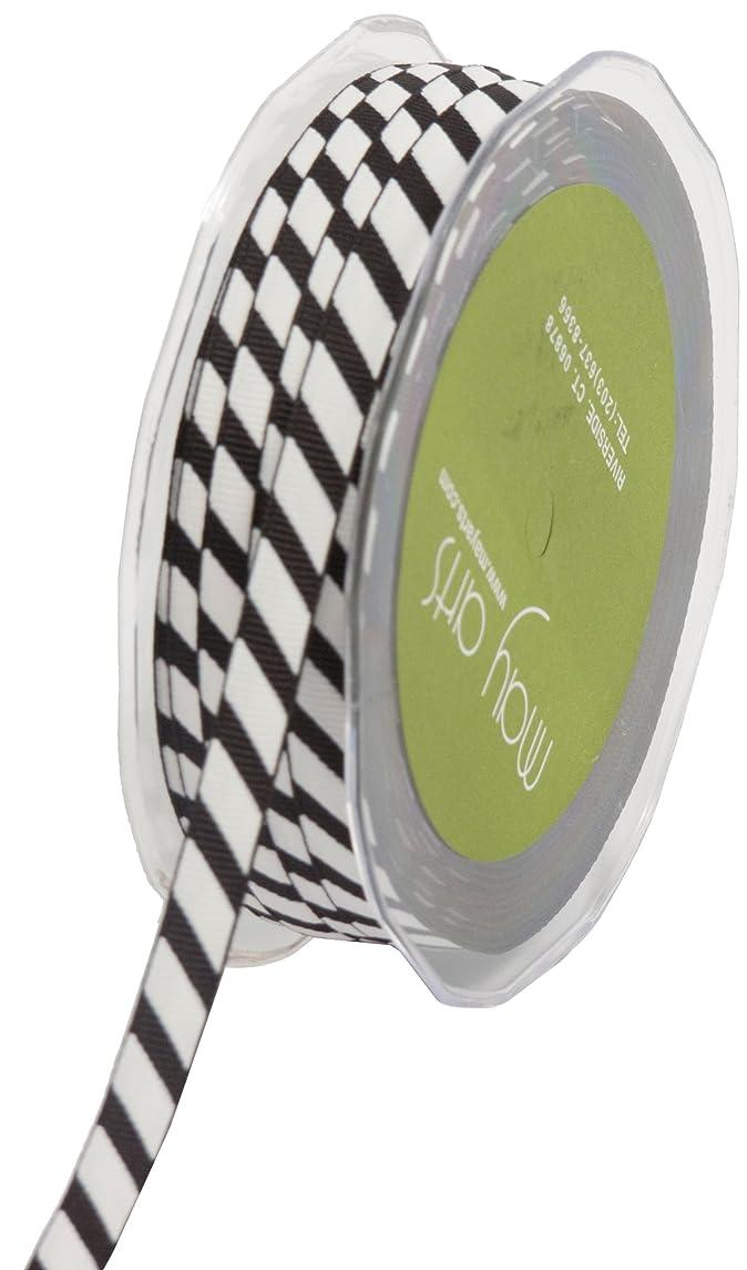 May Arts 3/8-Inch Wide Ribbon, Black Grosgrain Stripe