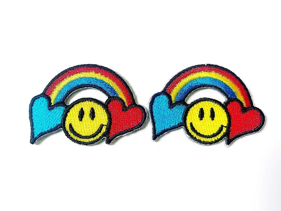 Tyga_Thai Brand Set 2 pcs. Mini Rainbow Heart Smile Yellow Cute Cartoon Logo Applique Embroidered Sew on Iron on Patch for Backpacks Jeans Jackets T-Shirt Clothing etc. (Iron-Rainbow-Heart-Smile)