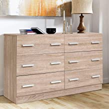 Artiss Chest of Drawers Wooden 6-Drawer Tallboy Dresser, Natural