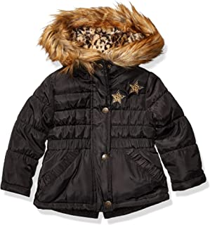 Girls' Toddler Puffy Winter Coat with Cozy Trimmed Hood