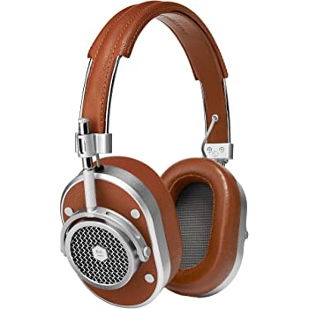 Master & Dynamic MH40 Over-Ear Headphones with Wire - Noise Isolating with Mic Recording Studio Headphones with Superior Sound, Silver Metal/Brown Leather