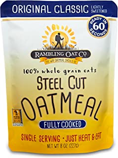 Rambling Oat Company Fully Cooked Steel Cut Oatmeal (8 Pouches) - Just Heat and Eat - Quick Instant Breakfast Packets (Original Classic)