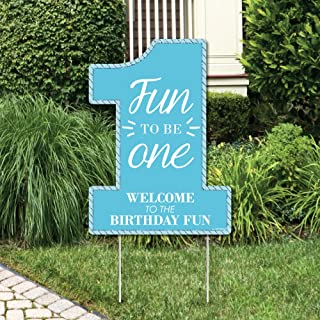 Big Dot of Happiness 1st Birthday Boy - Fun to be One - Party Decorations - First Birthday Party Welcome Yard Sign