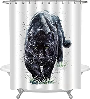 MitoVilla Watercolor Paint Predator Black Panther Shower Curtain for Bathtub, 3D Animal Theme Nature Wildlife Safari House Decor, Waterproof Fabric Bathroom Curtain, 72 x 78 inches