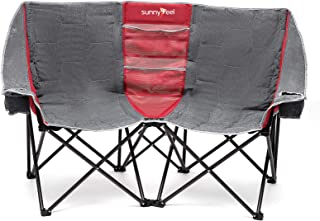 SUNNYFEEL Double Folding Camping Chair, Oversized Loveseat Chair, Heavy Duty Portable/Foldable Chair with Storage for Outs...