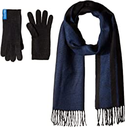 Two-Piece Varsity CK Scarf, Knit Touch Gloves