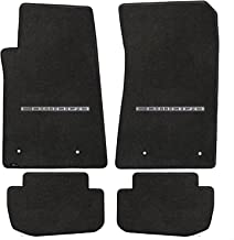 Fits 2010-2015 Chevy Camaro 4pc Ebony Black Front & Rear Floor Mats Set with CAMARO Logo Embroidery in Silver