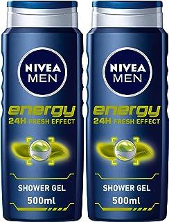 NIVEA MEN Energy 24h Fresh Shower Gel 3in1, Masculine Scent, 500ml, Pack of 2