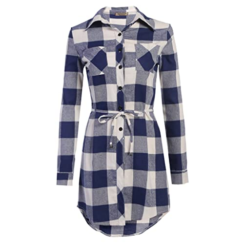 f1788f4646f Hotouch Women s Roll Up Sleeve Slim Plaid Shirts Button Down Belted Shirt  Dresses