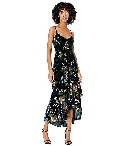 Marchesa Notte Sleeveless Embroidered Velvet Hi-Lo Cocktail Dress w/ Cascading Asymmetrical Hem (Teal) Women
