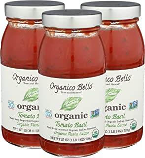 Organico Bello Pasta Sauce, Tomato Basil, 25 Ounce (Pack Of 3)