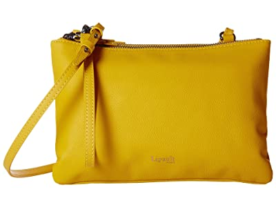 Lipault Paris Plume Elegance Leather Multi Pouch Bag (Mustard) Handbags